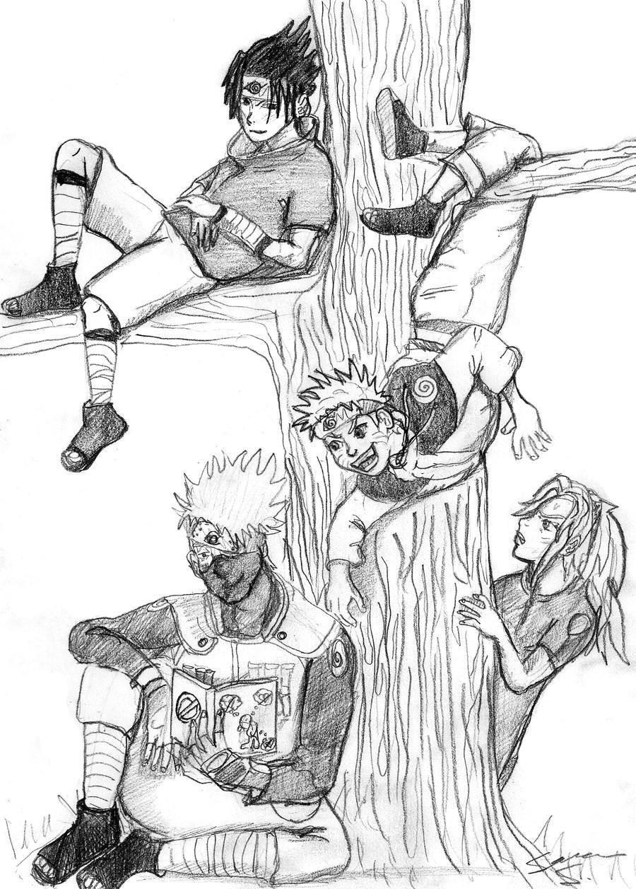 900x1257 Animenaruto Sasuke, Naruto, Sakura And Kakashi By Spiritfox90
