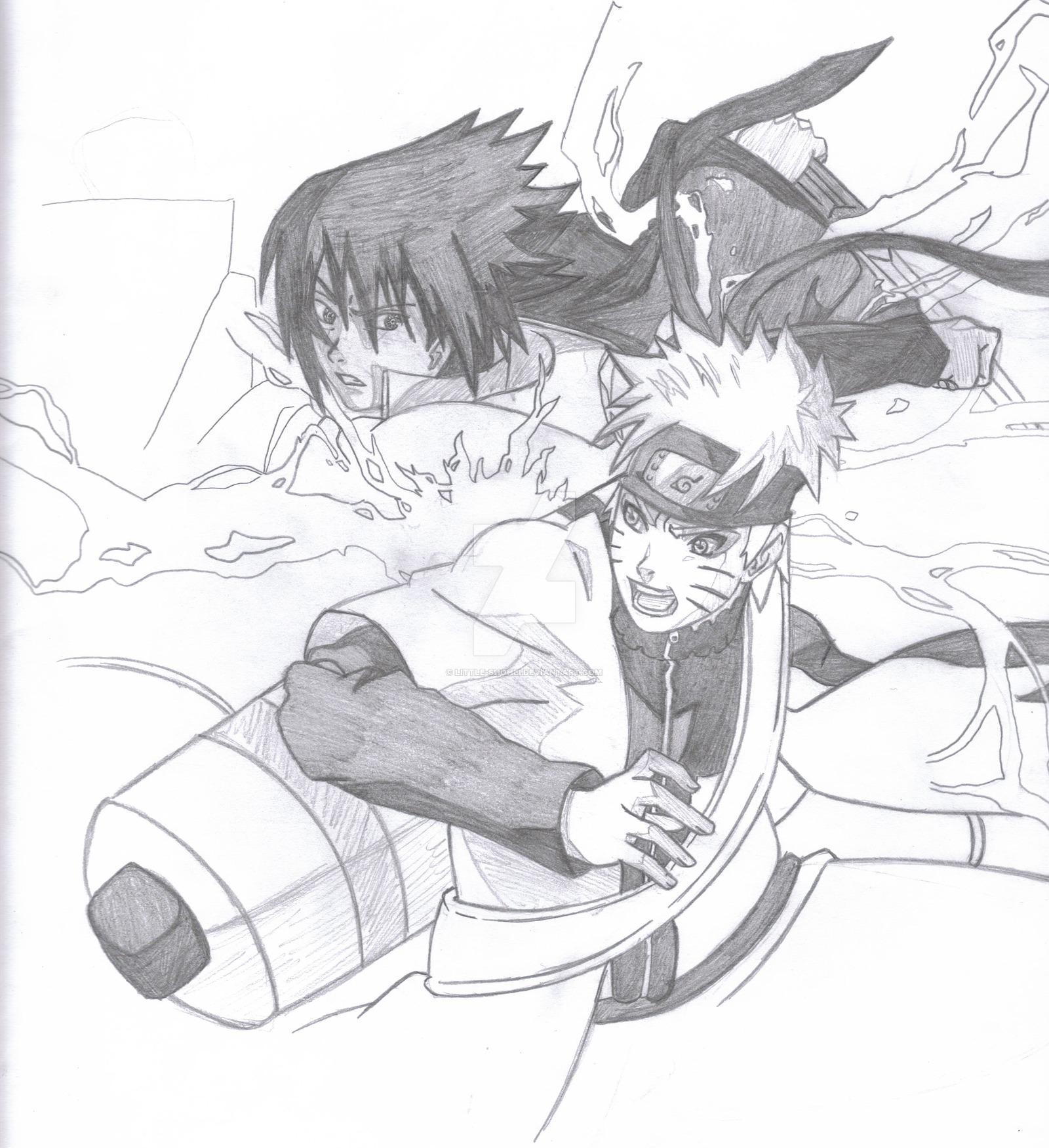 1600x1751 Naruto Vs Sasuke Sketch Version By Little Shohei