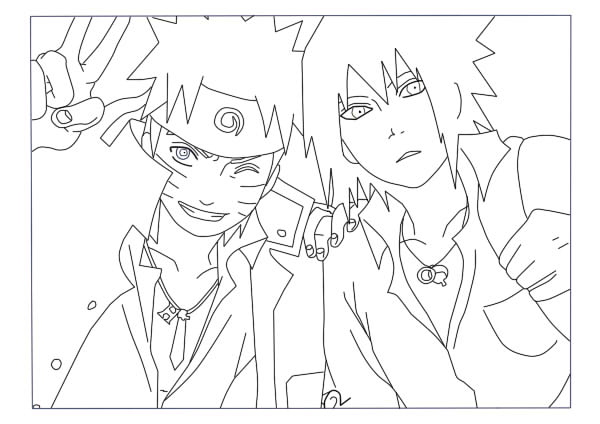 600x424 Naruto And Sasuke Khs Lineart By Evilaka