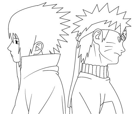 458x388 Naruto And Sasuke Lineart By Kang1223