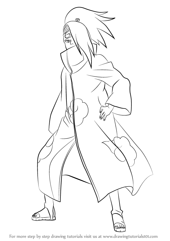 596x842 Learn How to Draw Deidara from Naruto (Naruto) Step by Step
