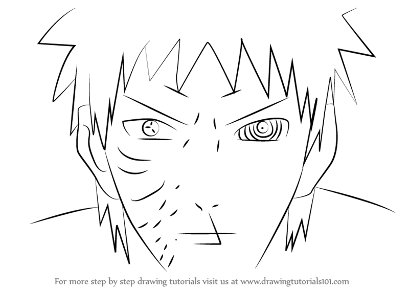 800x565 Step By Step How To Draw Obito Uchiha Face From Naruto