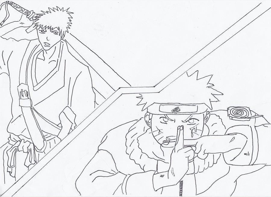 900x653 Ichigo Vs Naruto Outline By Scotty 94