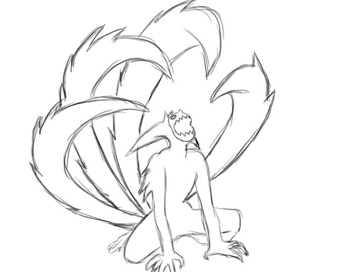 720x540 Naruto Four Tail Outline By Morganjent4