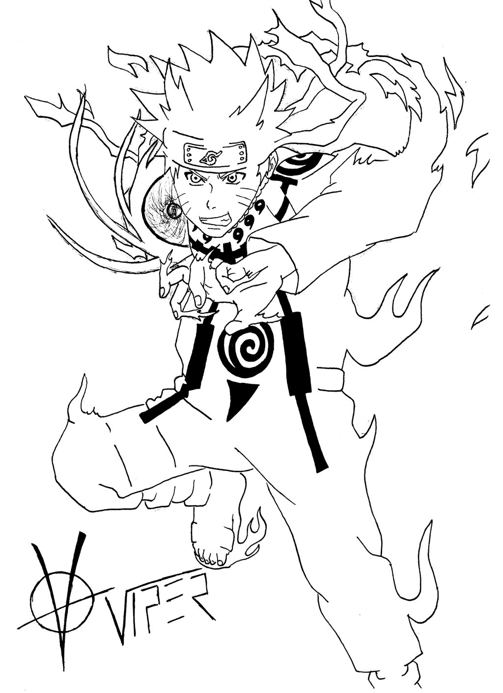 1024x1410 Naruto Kyuubi Mode (Outlines) By Viper Assassin