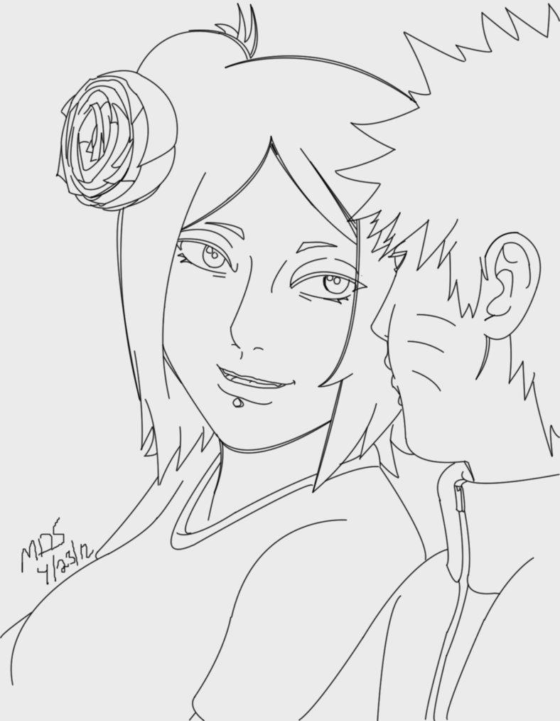 788x1014 Naruto And Konan Ily Outline By Megadarkly