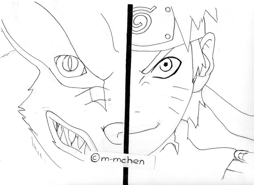 1024x748 Naruto And Kurama ( Outlines) By M Mchen