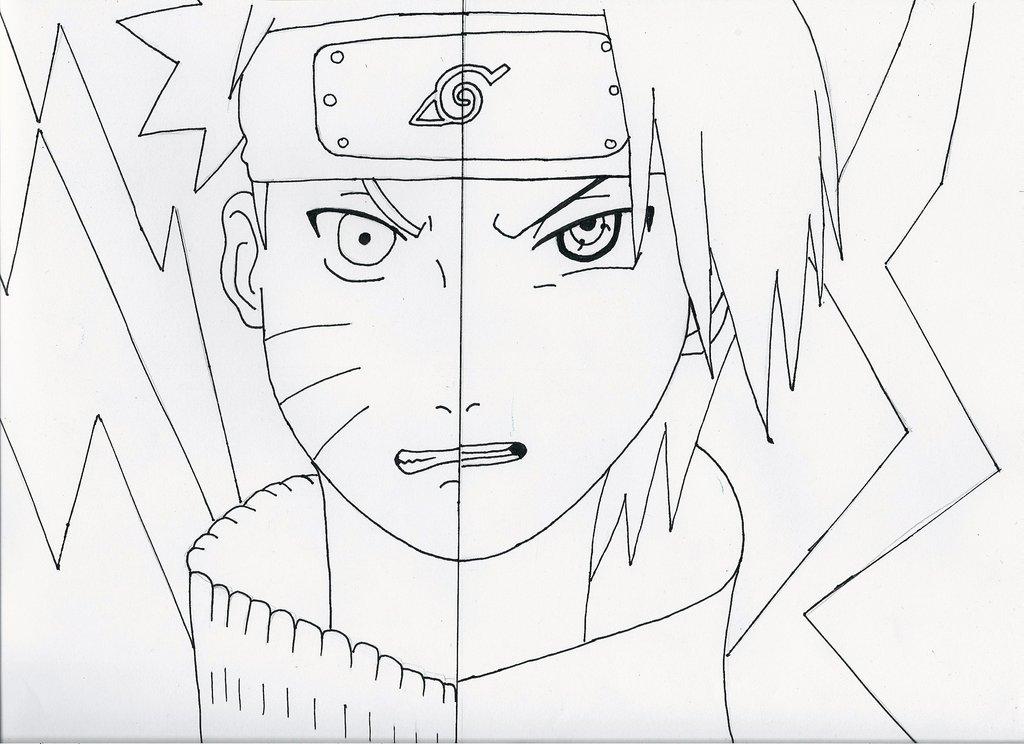 1024x744 Naruto And Sasuke Outline By Bgilliand