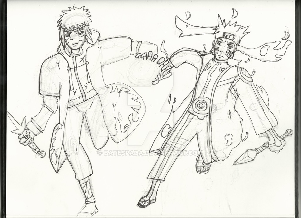 1024x743 Naruto's And Minato's Father Son Rasengan Sketch By Batespada