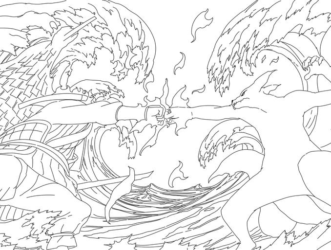 678x514 Naruto Vs Sasuke Coloring Pages Naruto Vs Sasuke Final Fight Line