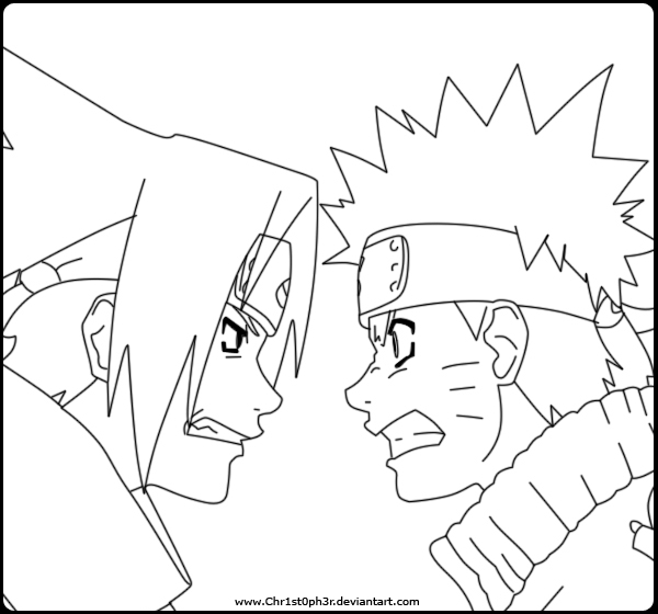 600x560 Naruto Vs Sasuke Coloring Pages
