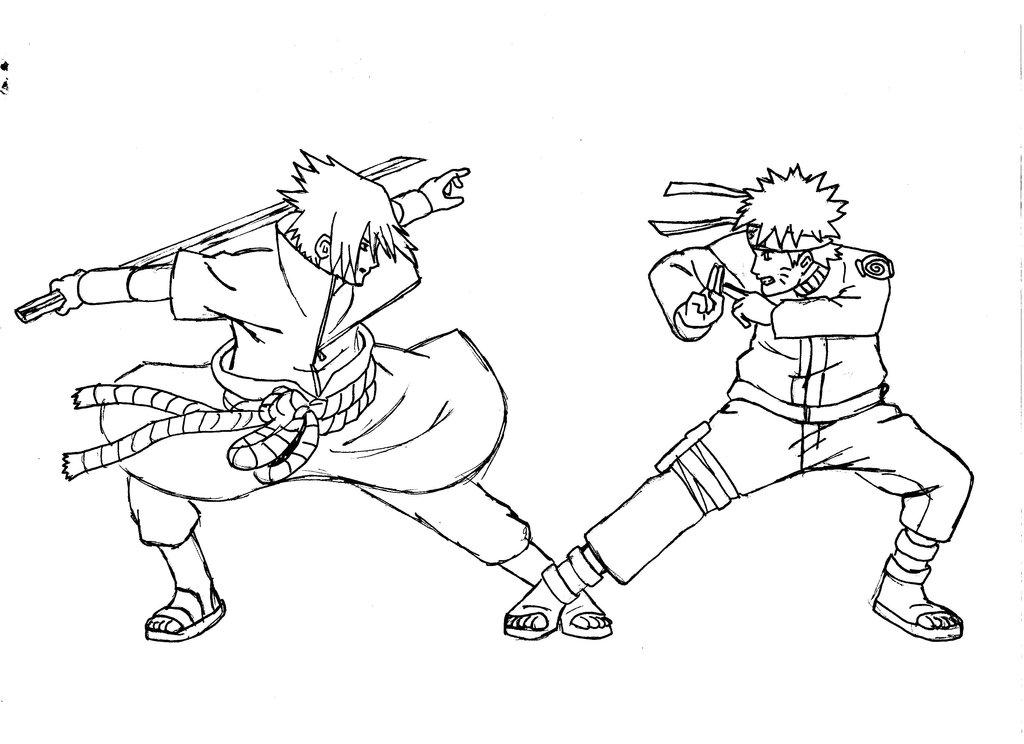 1024x744 Naruto Vs Sasuke Lineart By Kayaba Wolf