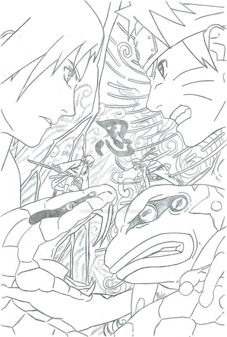 734x1088 Naruto Vs Sasuke By Miahinasakie