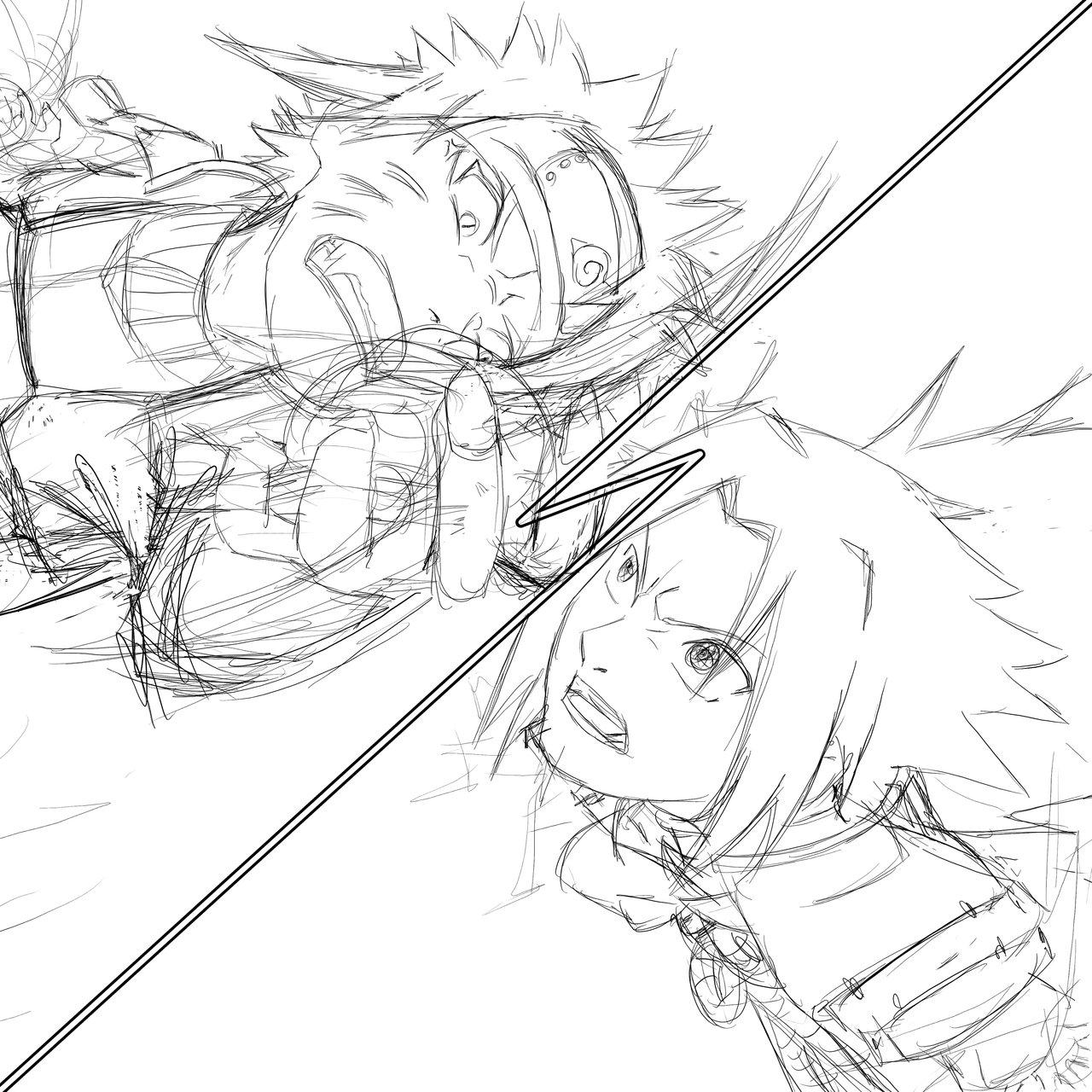 1280x1280 Naruto Vs Sasuke Sketch By Johnny Wolf