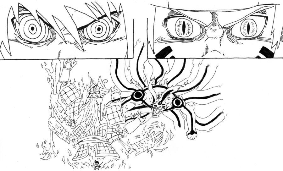 900x544 Naruto Vs. Sasuke (Lineart) By Sardoron