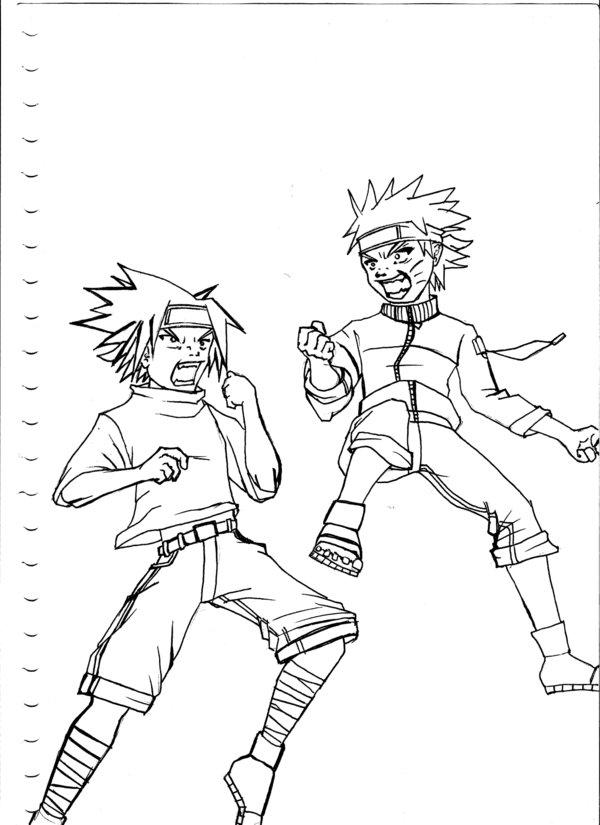 600x825 Naruto Vs. Sasuke Lineart Raw By Bbwf Tyrant