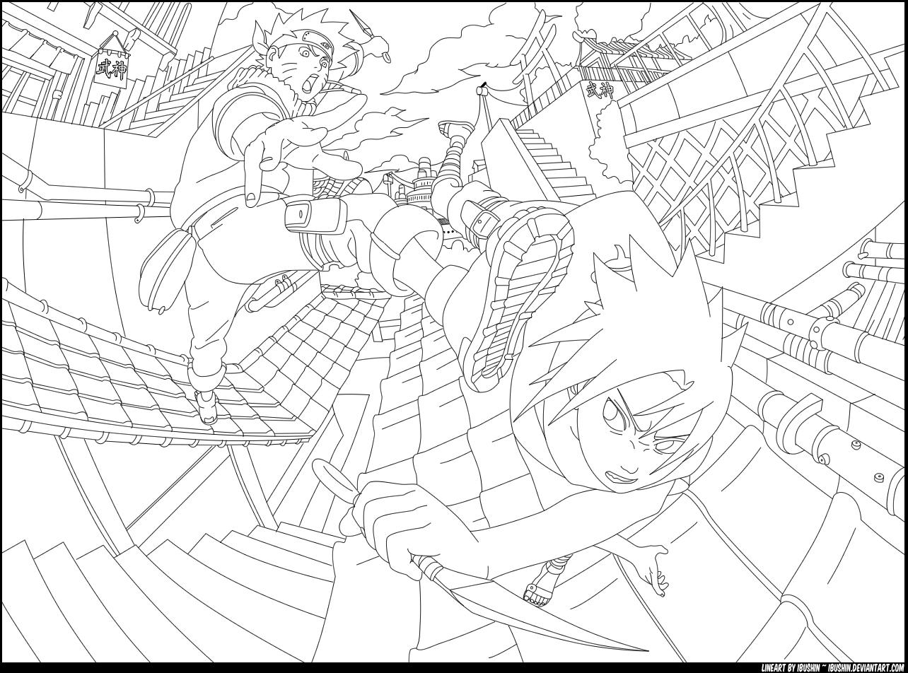 1284x952 Naruto Vs. Sasuke By Ibushin On Lineart Naruto