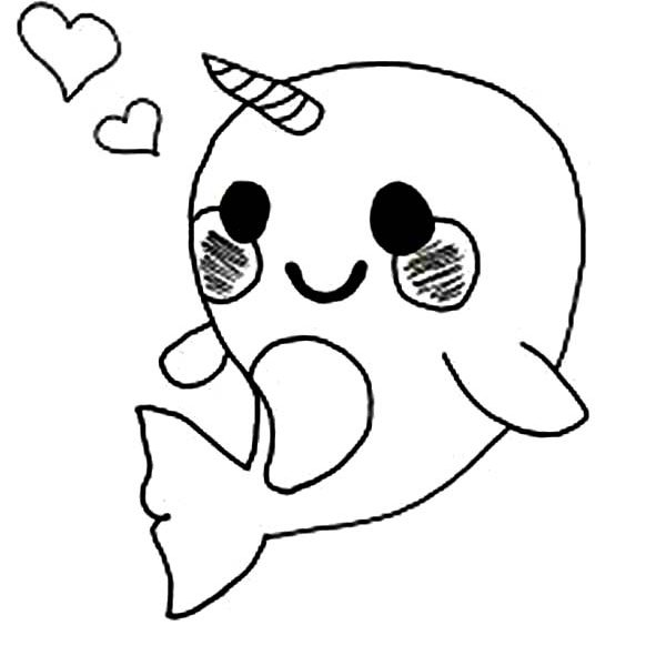 600x600 Cute Cartoon Coloring Pages Cute Ba Narwhal Coloring Page Netart