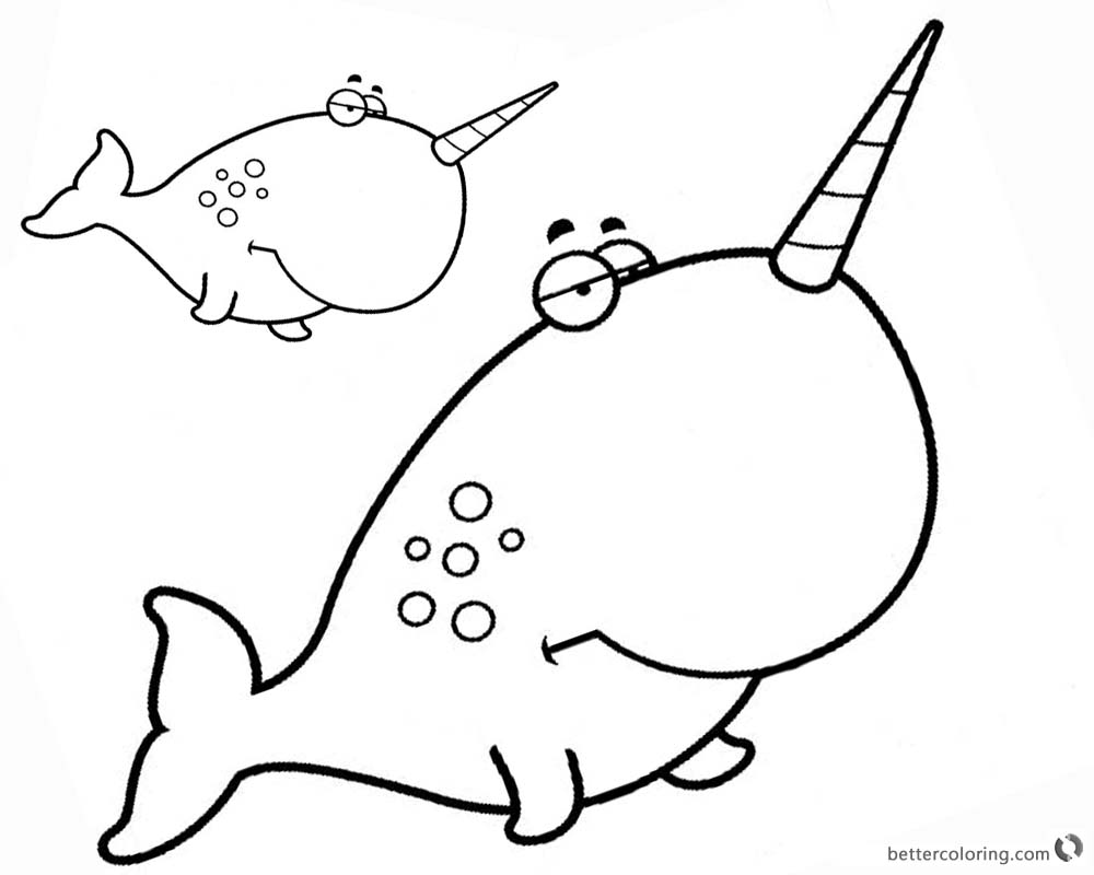 1000x800 Two Cartoon Narwhal Coloring Pages With Big Head