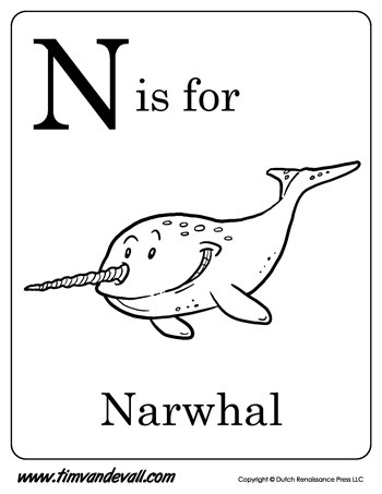 350x453 N Is For Narwhal Printable