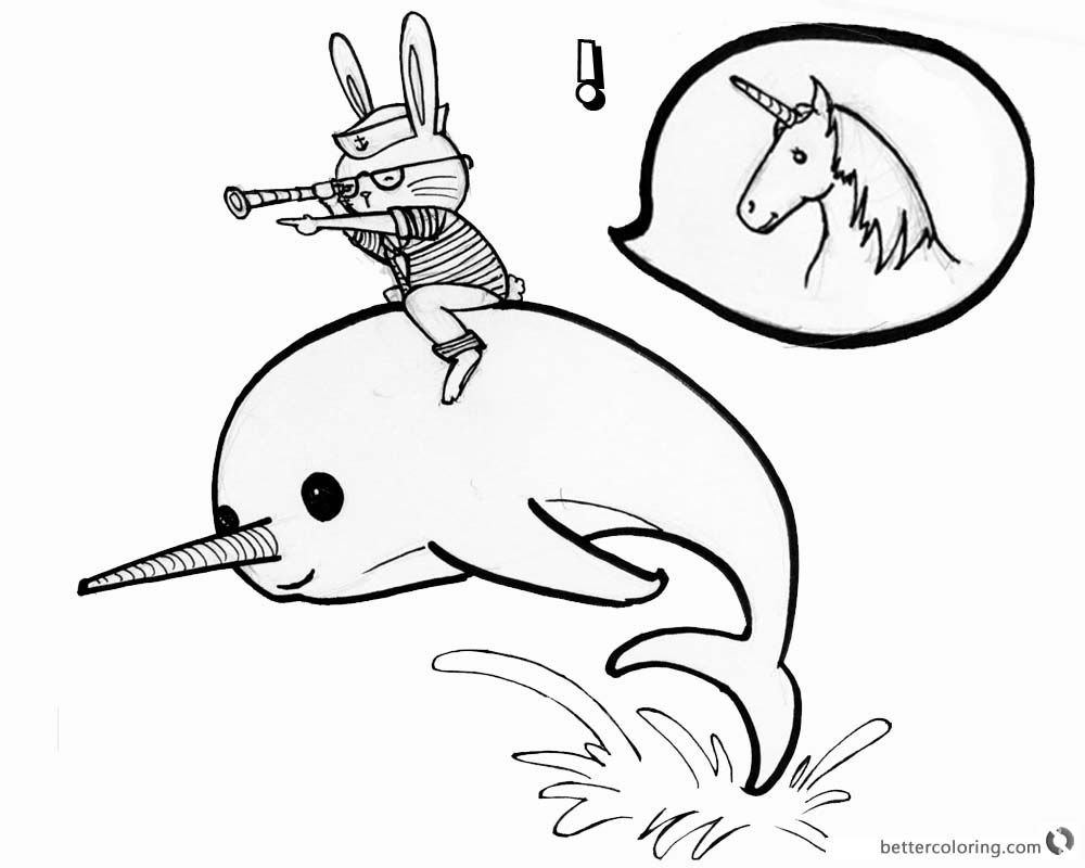 1000x800 Narwhal Coloring Pages Cat Ride On A Narwhal