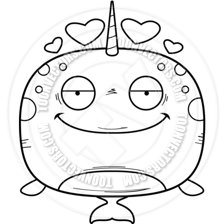 460x460 Cartoon Little Narwhal In Love (Black Amp White Line Art) By Cory