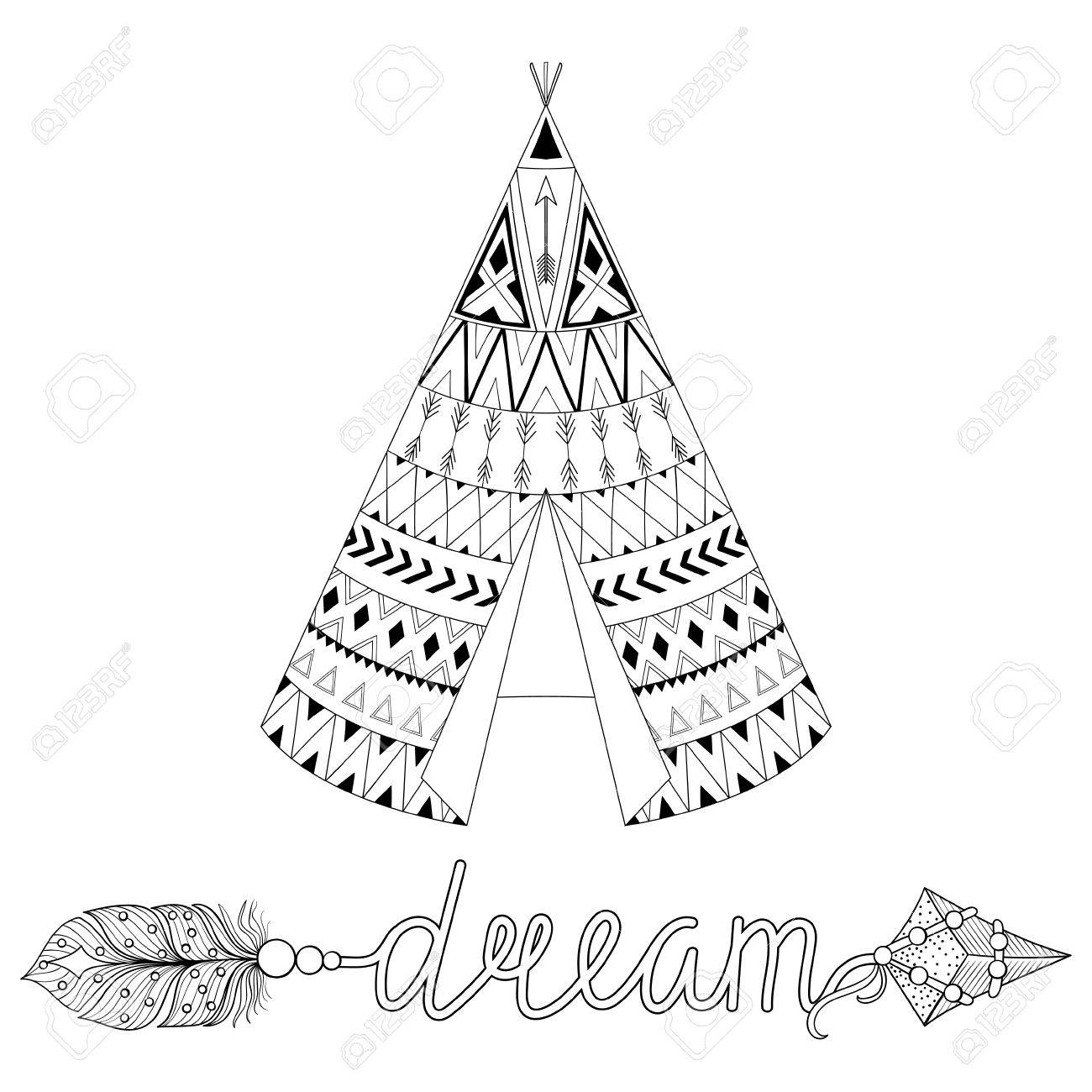 1300x1300 Hand Drawn American Native Wigwam With Ethnic Ornamental Elements
