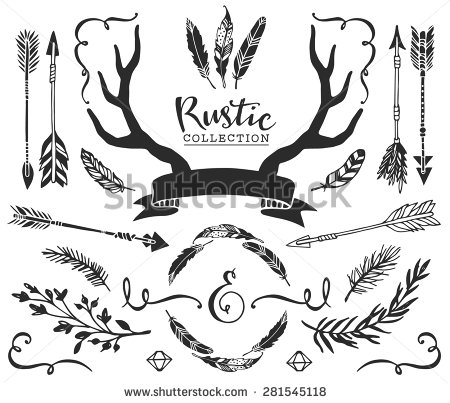 450x403 Hand Drawn Vintage Antlers, Feathers, Arrows With Lettering