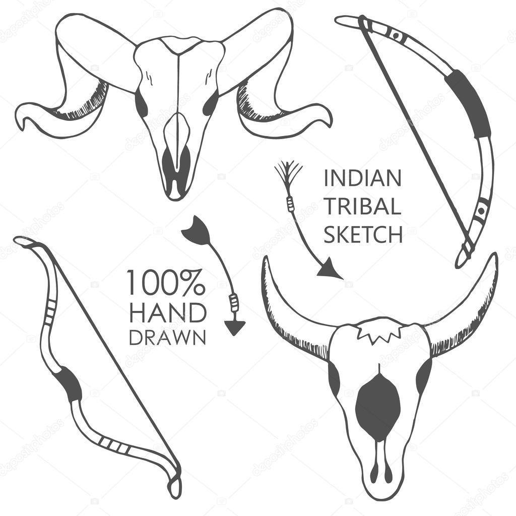 1024x1024 Hand Drawn With Ink Sketch Illustration With Bow, Bull Skulls