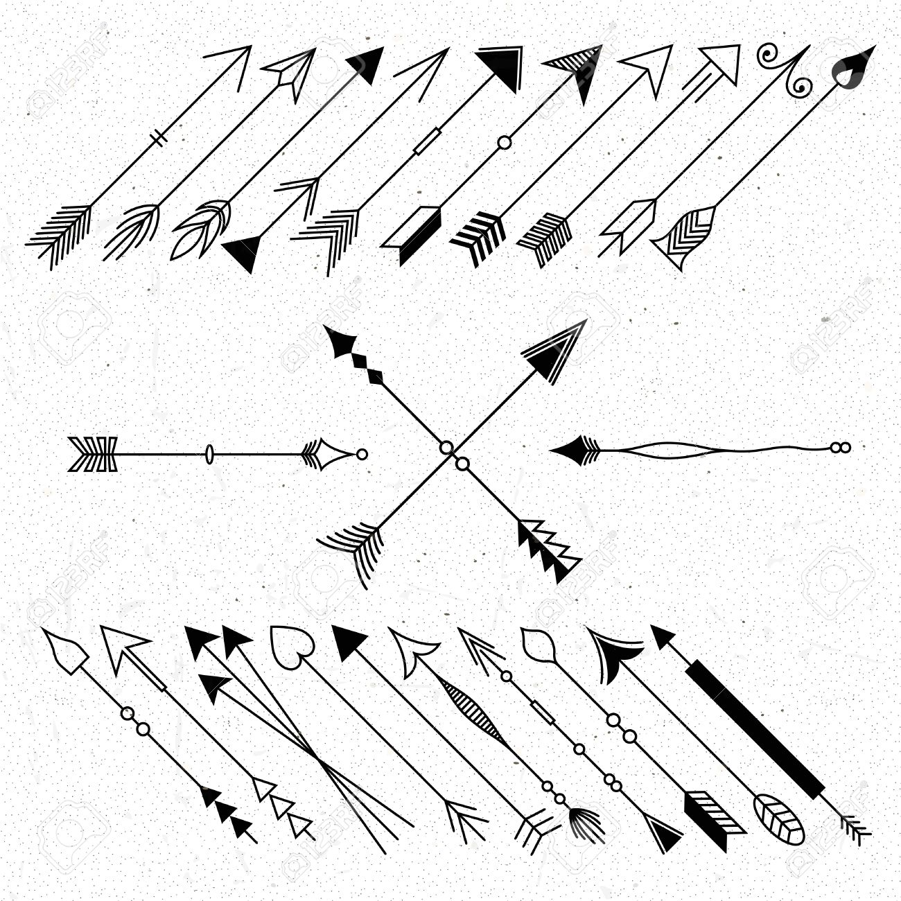 1300x1300 Hipster Arrows Collection. Big Set Of Hand Drawn, Hipster Arrows