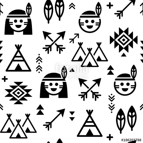500x500 Indian Vector Seamless Pattern For Boys And Girls, Native American