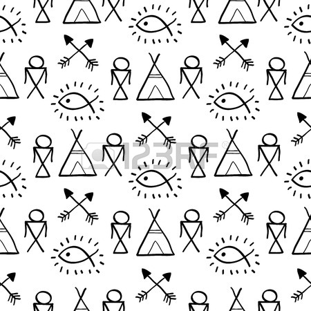 450x450 Native American Seamless Pattern With Indian Chief Headdress