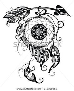 236x292 Boho Chic Ethnic Dream Arrow With Feathers, Dream Catcher. Hand