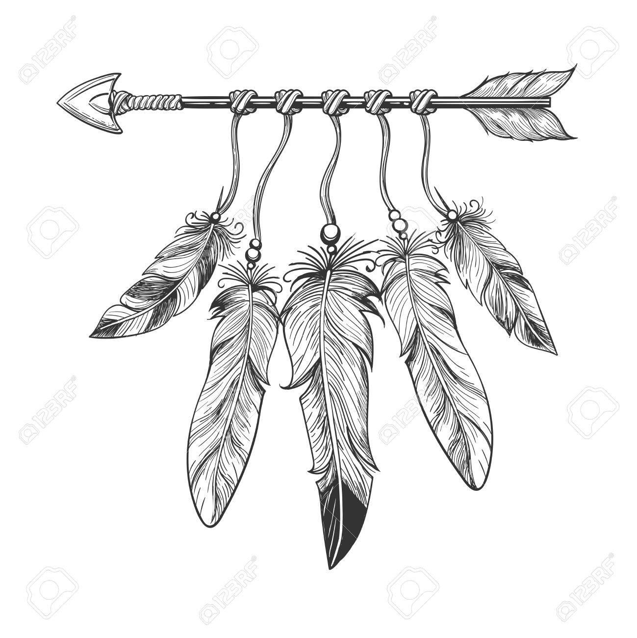 1299x1300 Vintage Nativity Hand Drawn Arrow With Feathers. Tribal Boho