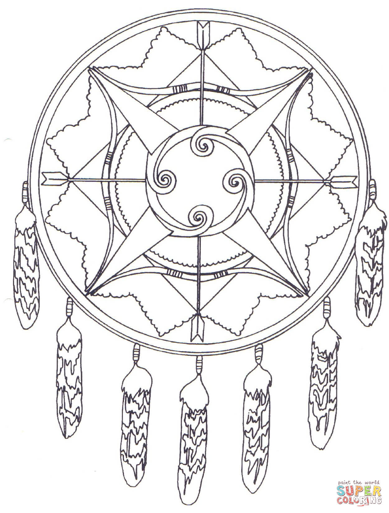 1250x1650 Native American Mandala With Bows And Arrows Coloring Pages.jpg