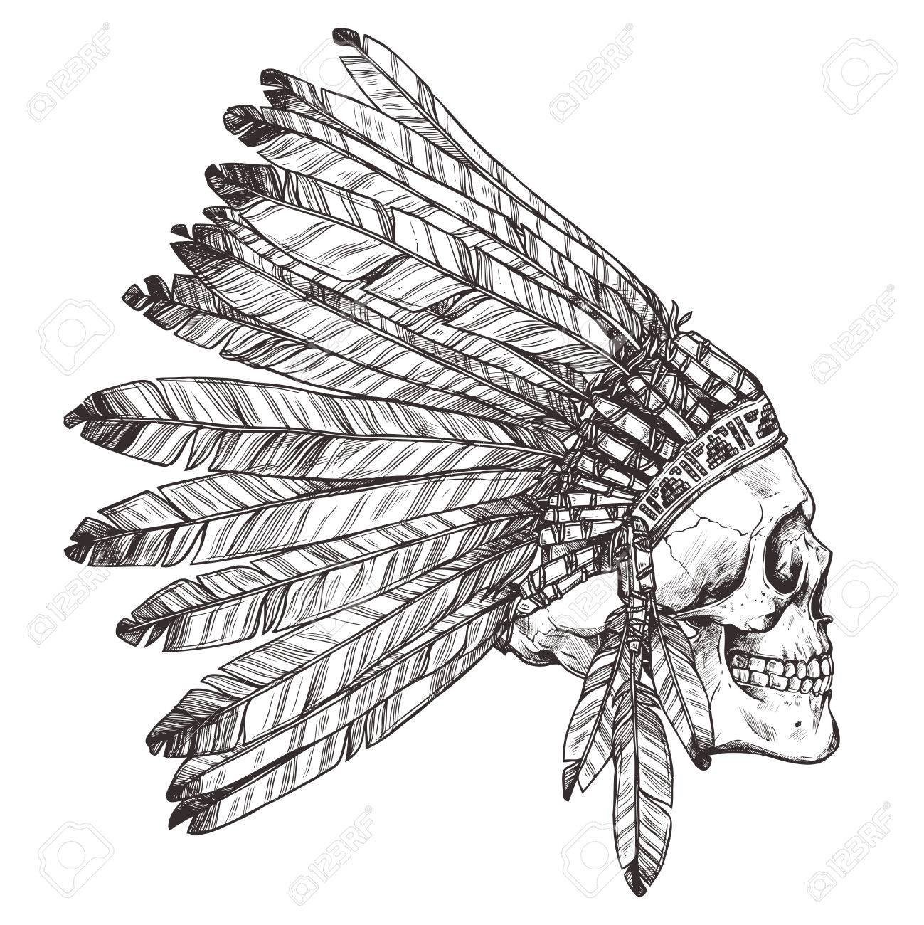 1299x1300 Hand Drawing Of Native American Indian Headdress With Human Skull
