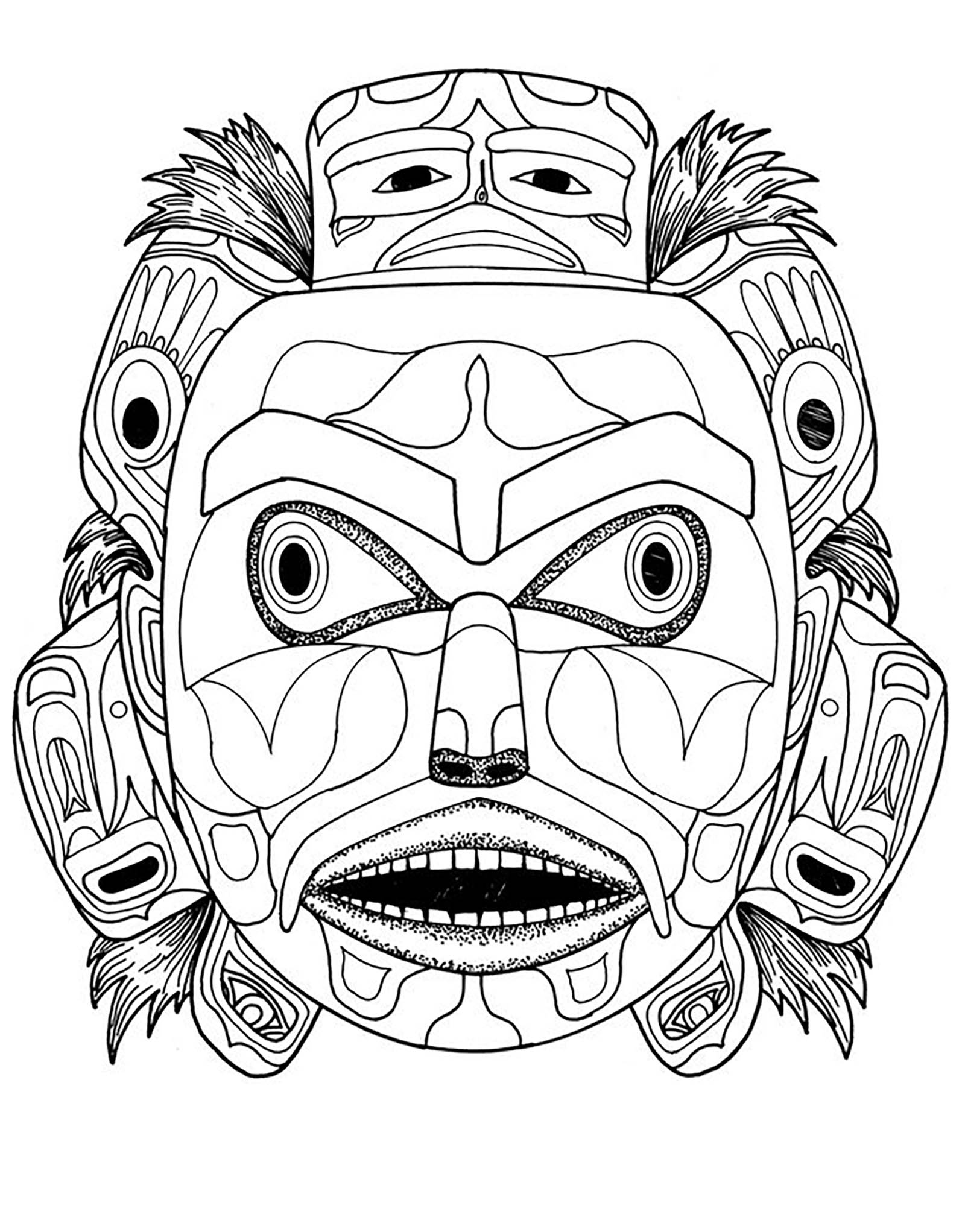 1600x2043 Kwakiutl Bear Spirit Mask Native American Art