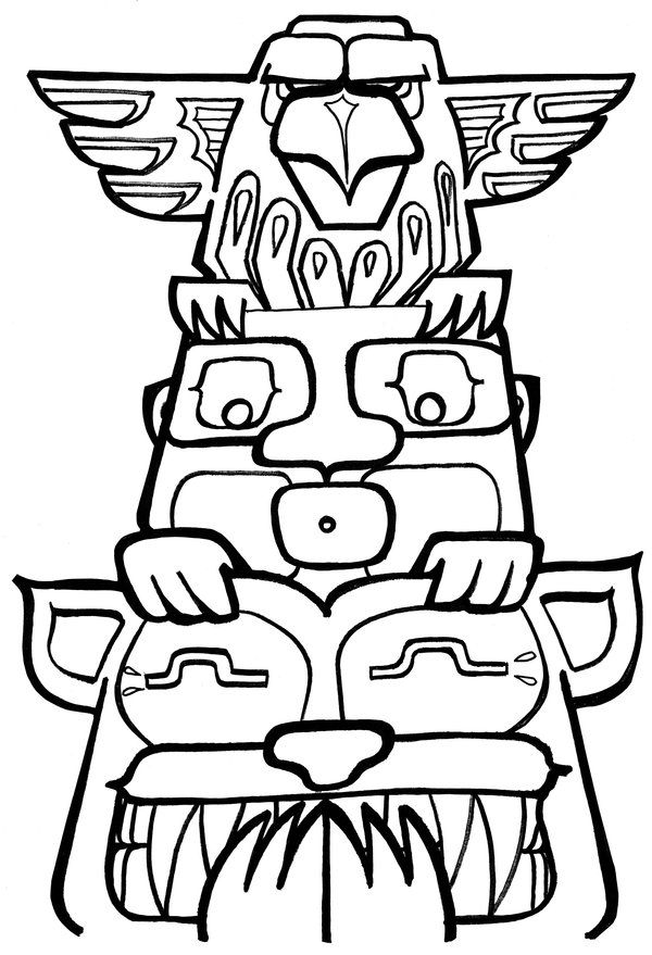 600x879 Totem Pole Coloring Pages To Print Crafts Totems