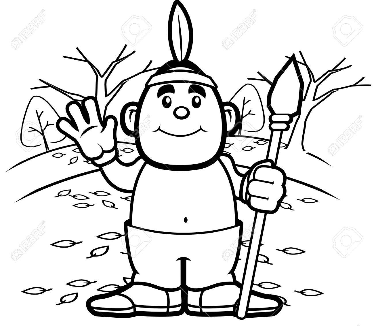 1300x1131 A Happy Cartoon Native American Waving And Smiling. Royalty Free