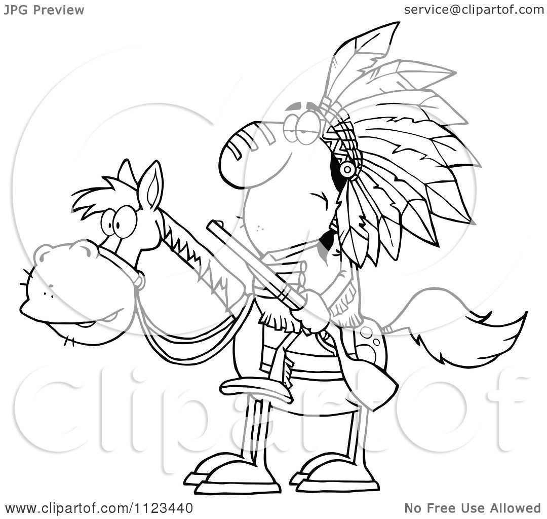 1080x1024 Cartoon Of An Outlined Native American Indian Chief On Horseback