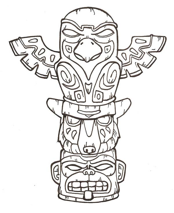 600x734 Terrifying Native American Totem On Native American Day Coloring