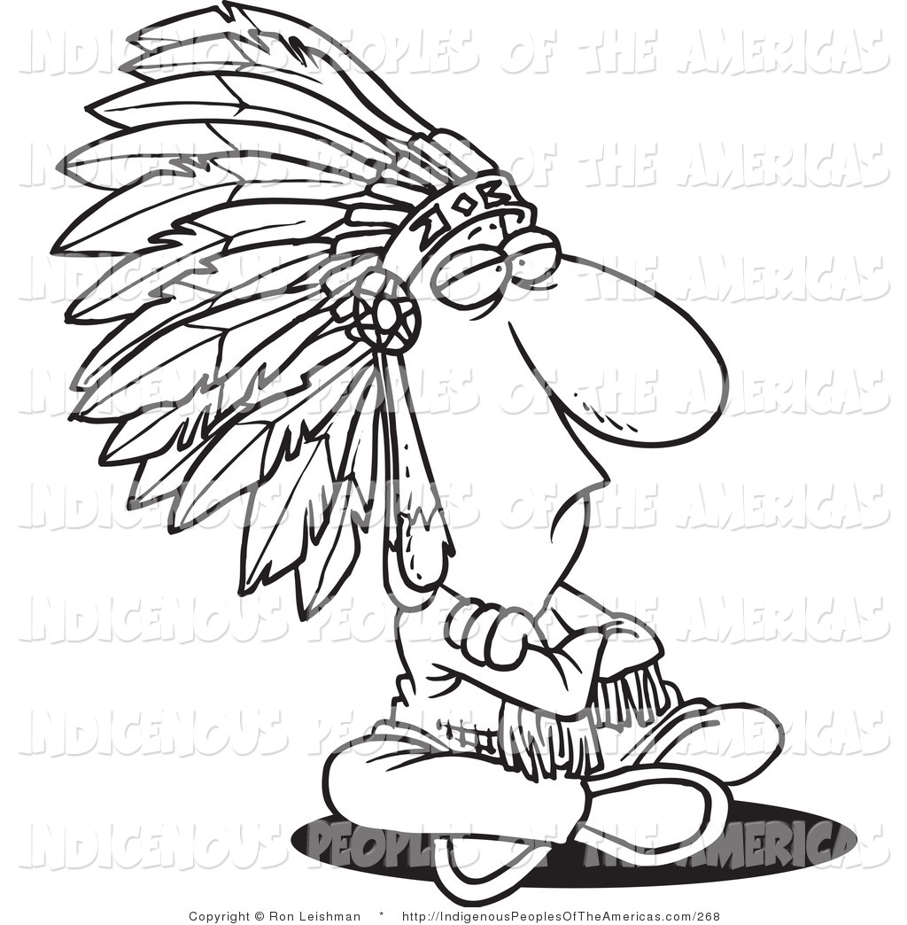 1024x1044 Vector Cartoon Clipart Of An Outlined Sitting Native American