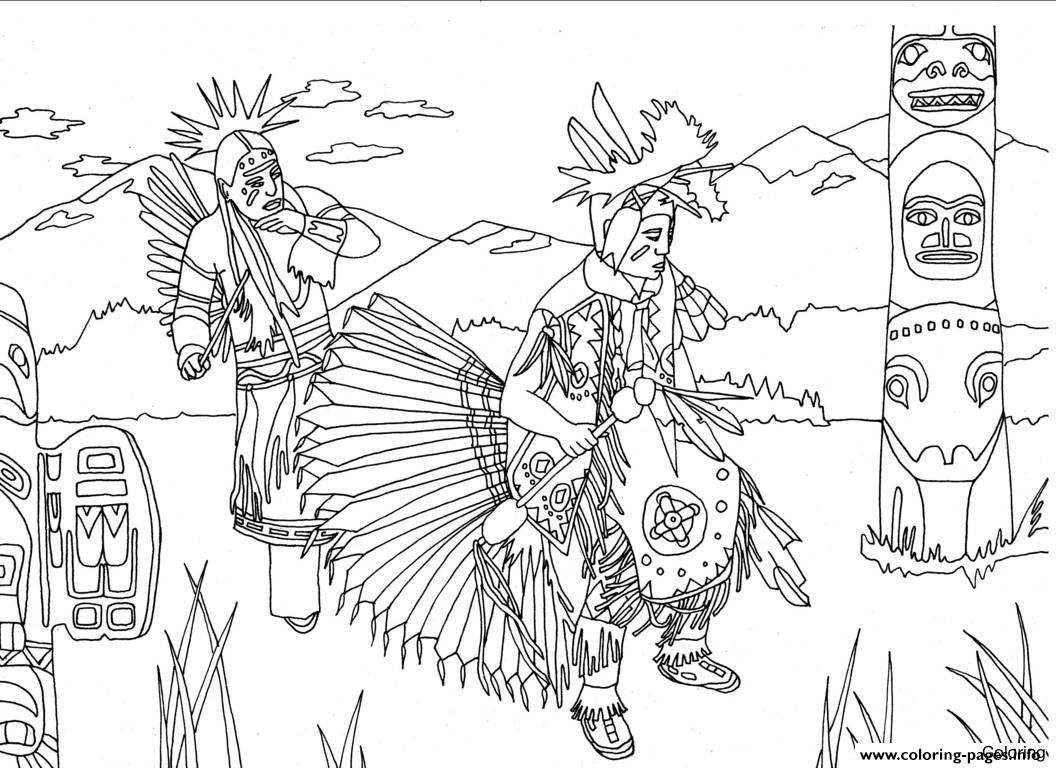 1056x768 Coloring Page Native American Indian Chief Headdress Pages Your