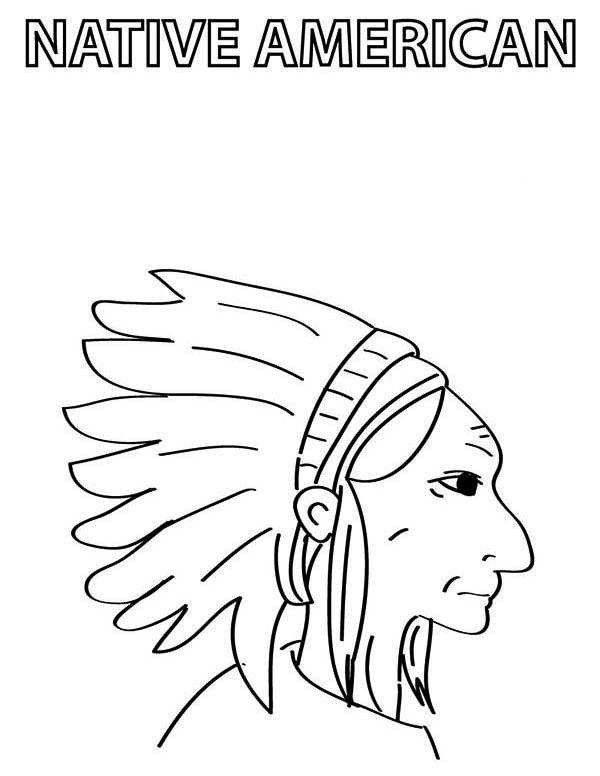 600x776 Native American Chief Prepare For Native American Day Coloring