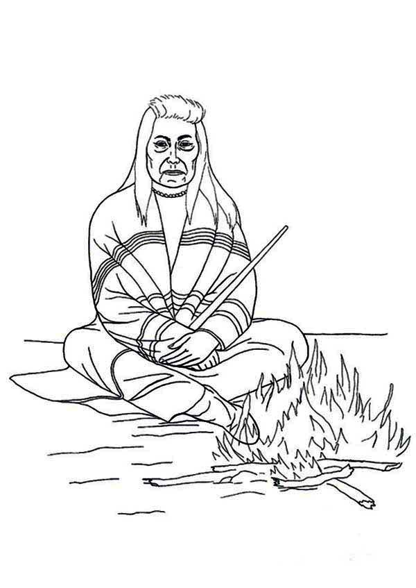 600x847 Native American Chief Sitting In Front Of Fire On Native American