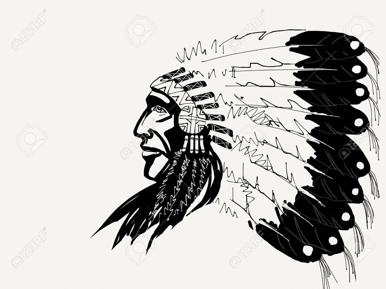 Line Drawing Feather : Native american chief drawing at getdrawings free for