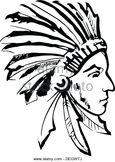 384x540 Native American Drawing Native Chief Black And White Stock Image