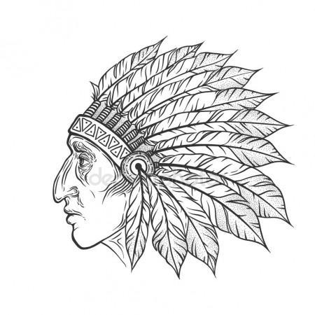 450x450 Native American Indian Chief Head Profile. Vector Vintage