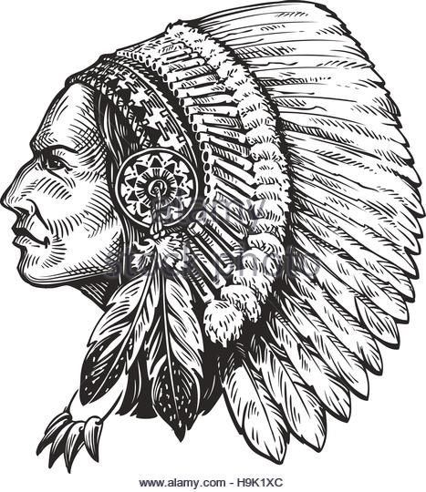 467x540 American Indian Warrior Black White Stock Photos Amp American Indian