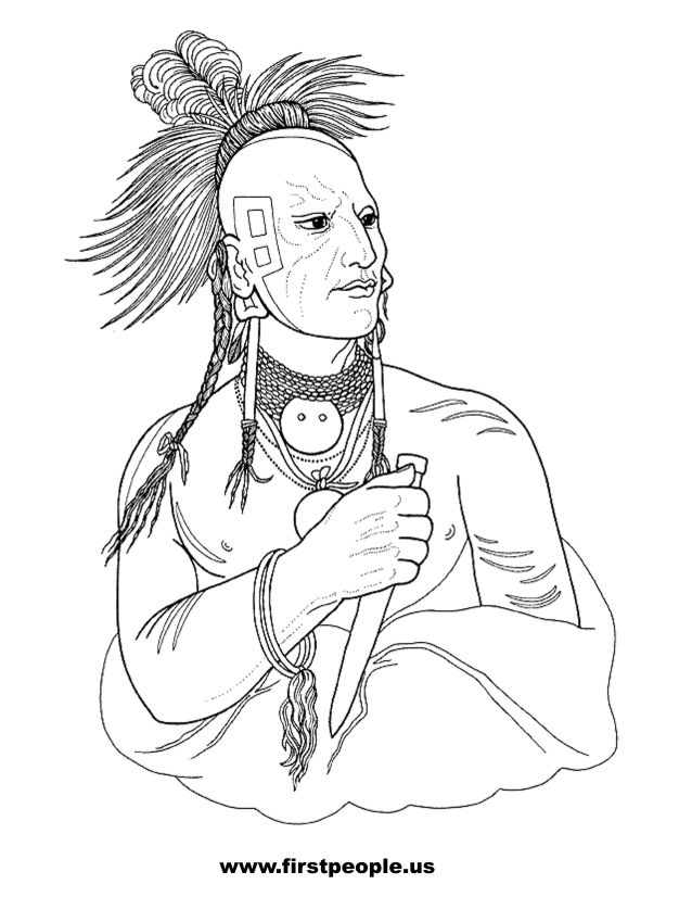 638x826 Native American Clipart To Color
